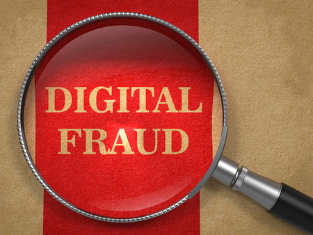 imposture: Digital Fraud Through Magnifying Glass on Old Paper with Red Vertical Line Background. Stock Photo