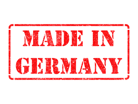 Made in Germany - inscription on Red Rubber Stamp Isolated on White. photo
