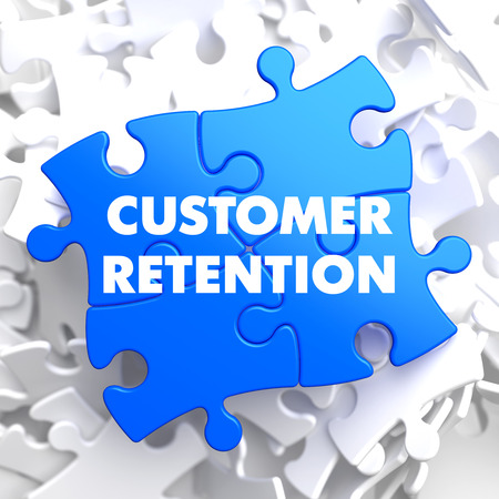 Customer Retention on Blue Puzzle on White Background. photo