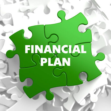 Financial Plan on Green Puzzle on White Background. photo