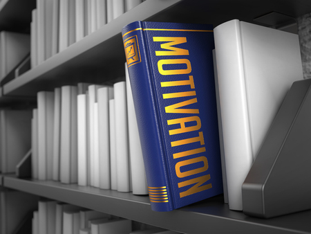 prompting: Motivation - Dark Blue Book on the Black Bookshelf between white ones. Business Concept.