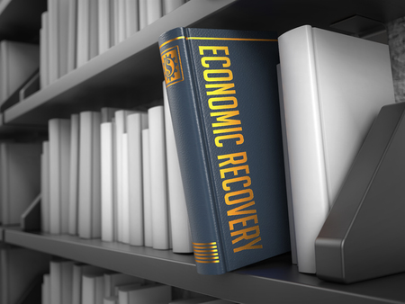 economic recovery: Economic Recovery - Grey Book on the Black Bookshelf between white ones. Finance Concept.
