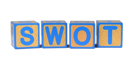 unfavorable: SWOT on Colored Wooden Childrens Alphabet Block Isolated on White. Stock Photo