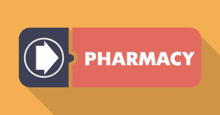 dispensary: Pharmacy Button in Flat Design with Long Shadows on Orange Background. Stock Photo
