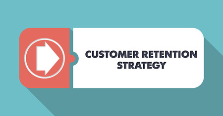 Customer Retention Strategy Button in Flat Design with Long Shadows on Turquoise Background. photo