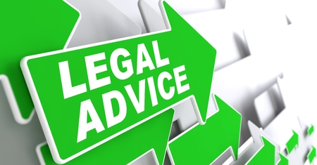 lawmaking: Legal Advice on Direction Sign - Green Arrow on a Grey Background.