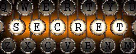 arcanum: Secret on Old Typewriters Keys on Orange  Background.
