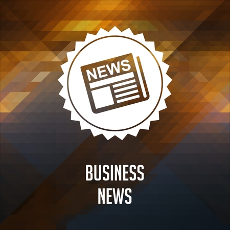 business news: Business News. Retro label design. Hipster background made of triangles, color flow effect.