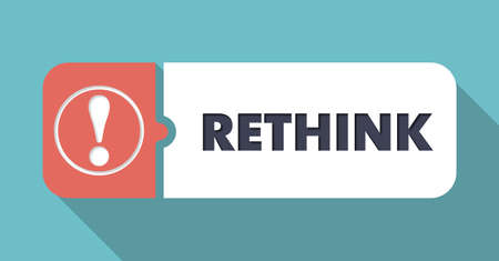 reconsideration: Rethink Button in Flat Design with Long Shadows on Turquoise Background. Stock Photo