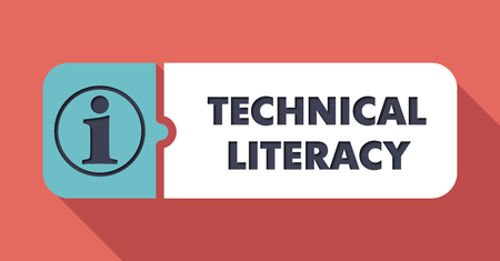 attainments: Technical Literacy Button in Flat Design with Long Shadows on Scarlet Background.