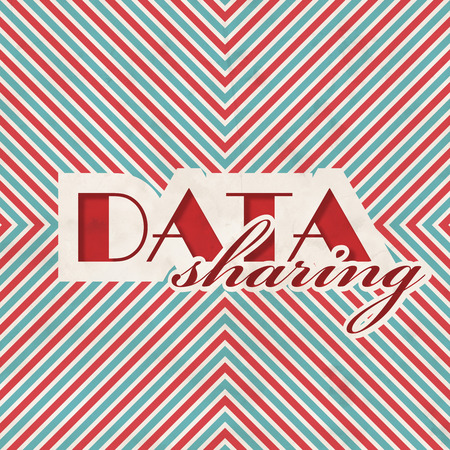 Data Sharing Concept on Red and Blue Striped . Vintage Concept in Flat Design. photo