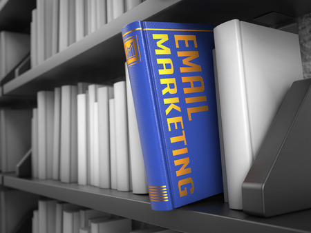 email marketing: E-mail Marketing - Blue Book on the Black Bookshelf between white ones. Internet Concept.