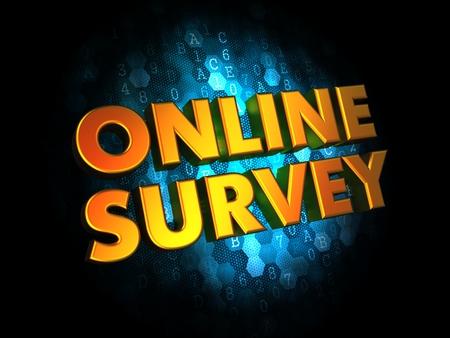 online survey: Online Survey - Golden Color Text on Dark Blue Digital .