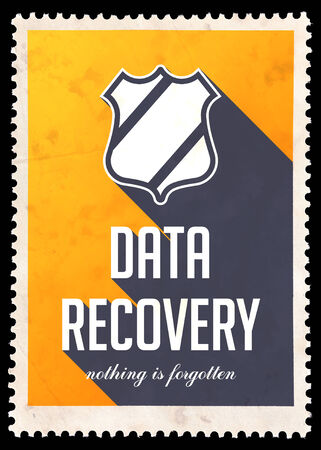 data recovery: Data Recovery on Yellow . Vintage Concept in Flat Design with Long Shadows.