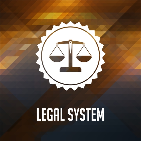 Legal System Concept. Retro label design. Hipster made of triangles, color flow effect. photo