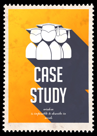 situational: Case Study on Yellow . Vintage Concept in Flat Design with Long Shadows.