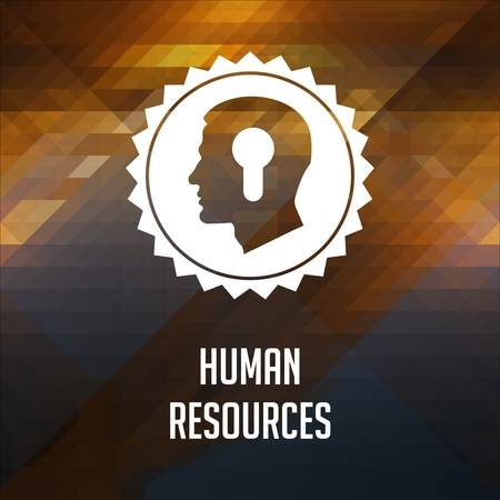 Human Resources Concept. Retro label design. Hipster made of triangles, color flow effect. photo