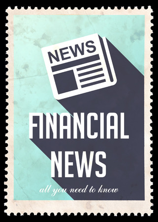 Financial News on Blue . Vintage Concept in Flat Design with Long Shadows. photo