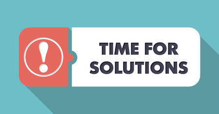 Time For Solutions Button in Flat Design with Long Shadows on Blue Background.