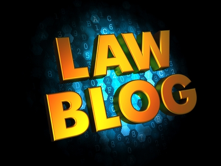 noncompliance: Law Blog - Gold 3D Words on Digital Background.