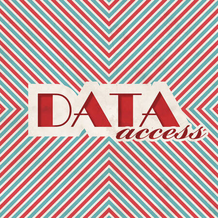 Data Access Concept. Retro Design on striped red and blue background . photo