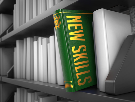 learning new skills: New Skills  - Green Book on the Black Bookshelf between white ones. Educational Concept. Stock Photo