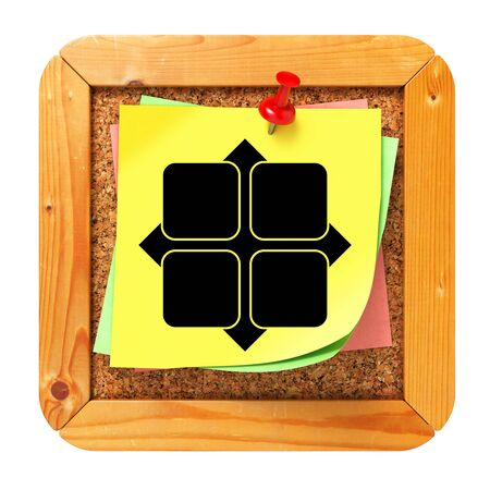 Icon of Y-axis on Yellow Sticker  to Cork Bulletin or Message Board  3D Render  photo