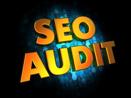 meta tags: Seo Audit - Gold 3D Words on Dark Digital Background