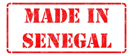 Made in Senegal - inscription on Red Rubber Stamp Isolated on White  photo