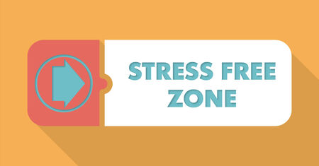 Stress Free Zone Button in Flat Design with Long Shadows on Orange Background  photo