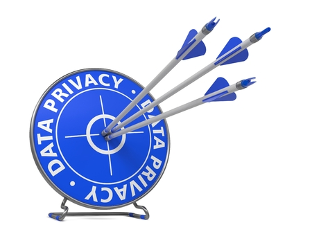 Data Privacy Concept  Three Arrows Hit in Blue Target  Isolated Object on a White Background  photo