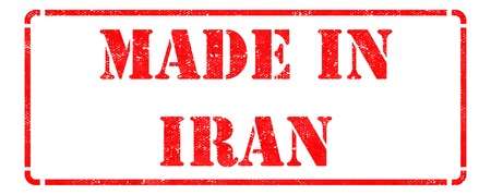 Made in Iran  - inscription on Red Rubber Stamp Isolated on White  photo