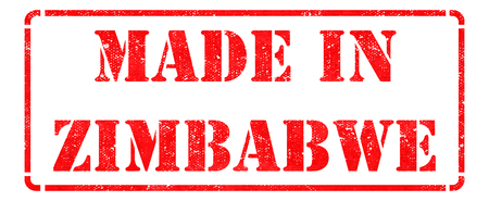 Made in Zimbabwe - inscription on Red Rubber Stamp Isolated on White  photo