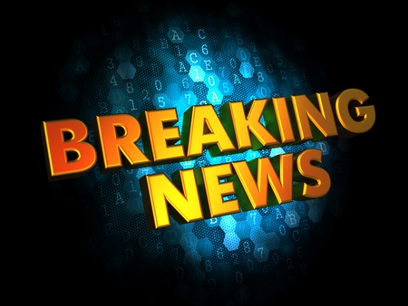 news cast: Breaking News - Gold 3D Words on Dark Digital Background
