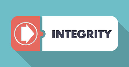 wholeness: Integrity Button in Flat Design with Long Shadows on Blue Background