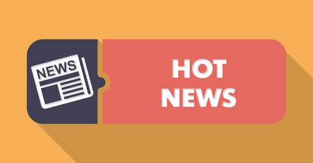 Hot News Button in Flat Design with Long Shadows on Orange Background.