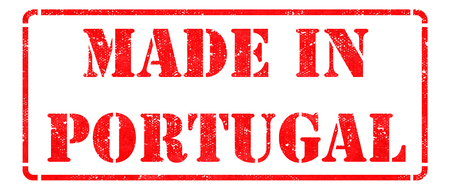 Made in Portugal- inscription on Red Rubber Stamp Isolated on White. photo