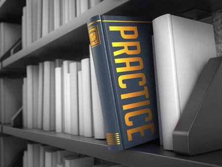 probation: Practice - Gray Book on the Black Bookshelf between white ones. Internet  Concept.