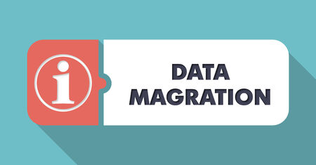 systematization: Data Migration Button in Flat Design with Long Shadows on Blue Background. Stock Photo
