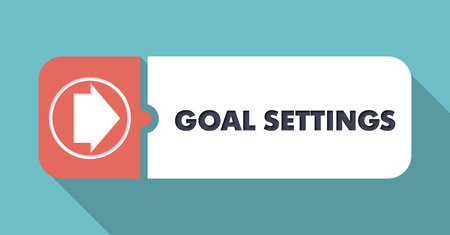goal setting: Goal Settings Button in Flat Design with Long Shadows on Blue Background. Stock Photo