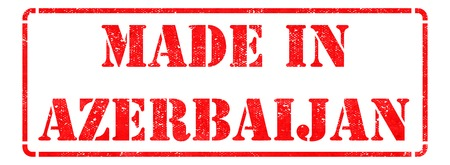 transnational: Made in Azerbaijan - inscription on Red Rubber Stamp Isolated on White. Stock Photo