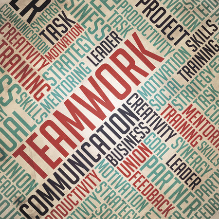 reciprocity: Teamwork - Grunge Red-Blue Wordcloud Concept on Old Paper Background.