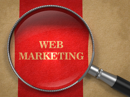 web marketing: Web Marketing Concept. Magnifying Glass on Old Paper with Red Vertical Line Background.