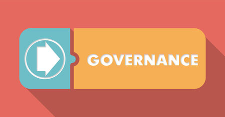 governance: Governance Button in Flat Design with Long Shadows on Scarlet Background.