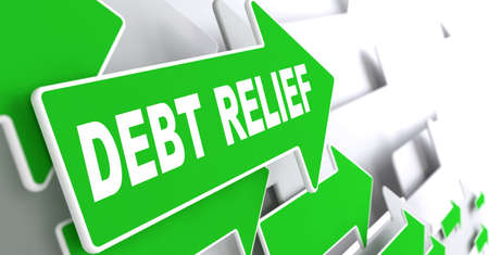 repayment: Debt Relief on Direction Sign - Green Arrow on a Grey Background. Stock Photo