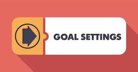 criterio: Goal Impostazioni Button in Design piatto con lunghe ombre su sfondo Scarlet.
