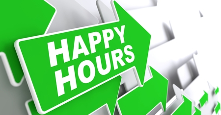 Happy Hours on Direction Sign - Green Arrow on a Grey Background. photo