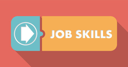 Job Skills Button in Flat Design with Long Shadows on Scarlet Background. photo