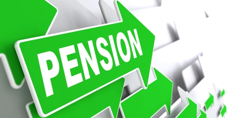 subsidize: Pension on Direction Sign - Green Arrow on a Grey Background. Stock Photo