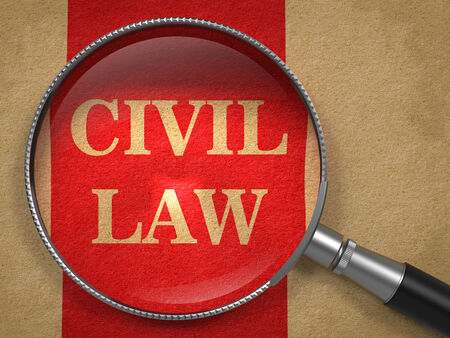 rightfulness: Civil Law. Magnifying Glass on Old Paper with Red Vertical Line.